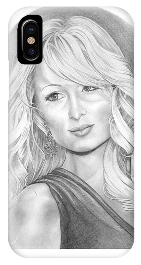 Portrait IPhone Case featuring the drawing Paris Hilton by Murphy Elliott
