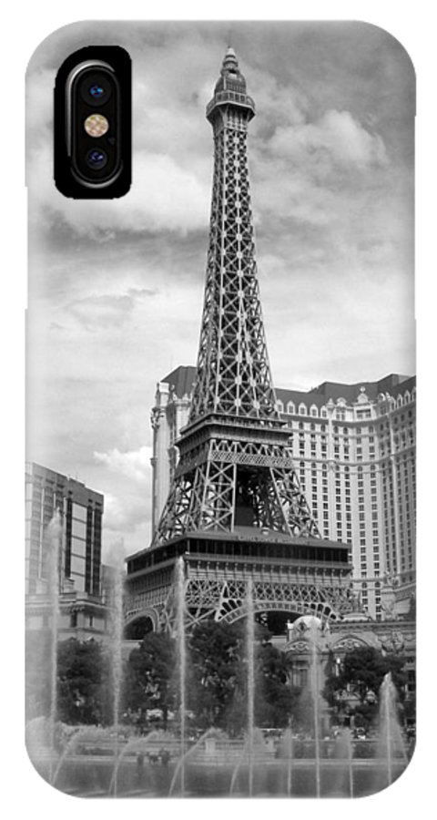 Paris Hotel IPhone X Case featuring the photograph Paris Hotel - Las Vegas B-w by Anita Burgermeister