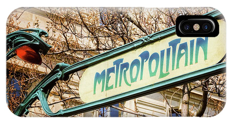 Joan Carroll IPhone X Case featuring the photograph Paris Metro Sign Color by Joan Carroll