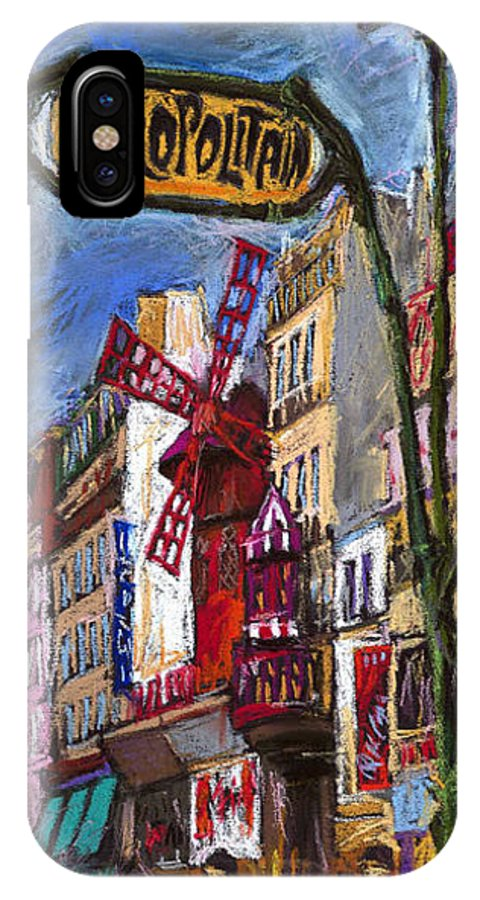 Cityscape IPhone X Case featuring the painting Paris Mulen Rouge by Yuriy Shevchuk