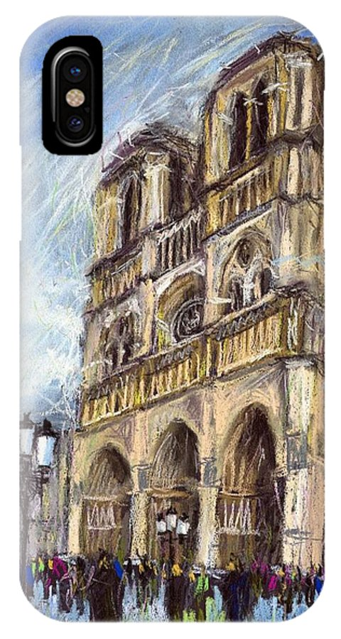 Cityscape IPhone X Case featuring the pastel Paris Notre-dame De Paris by Yuriy Shevchuk
