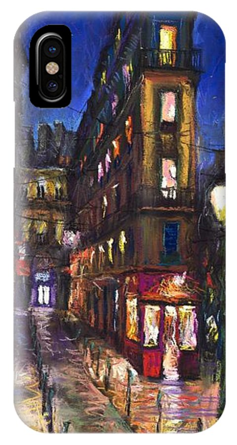 Landscape IPhone X Case featuring the painting Paris Old Street by Yuriy Shevchuk