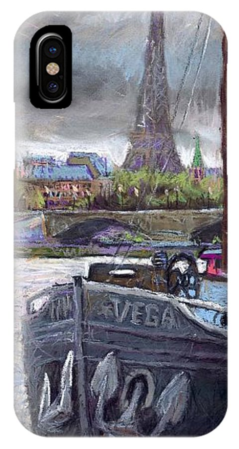 Pastel IPhone X Case featuring the painting Paris Pont Alexandre IIi by Yuriy Shevchuk