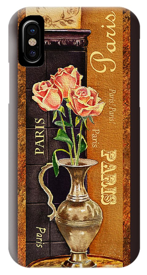 Rose IPhone X Case featuring the painting Paris Roses by Irina Sztukowski