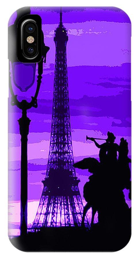 Paris IPhone X Case featuring the photograph Paris Tour Eiffel Violet by Yuriy Shevchuk
