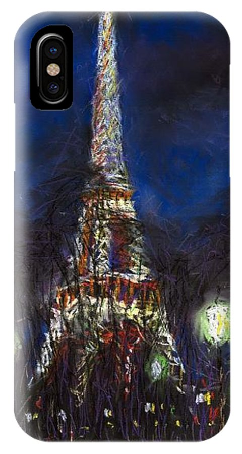 Pastel IPhone X Case featuring the painting Paris Tour Eiffel by Yuriy Shevchuk