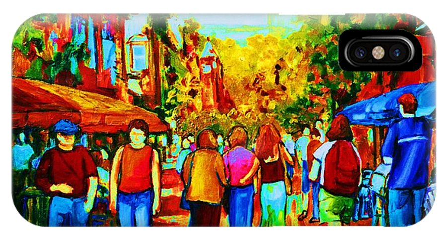 Cafe Scenes IPhone X Case featuring the painting Parisian Cafes by Carole Spandau