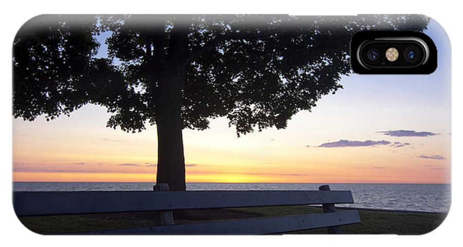 IPhone X Case featuring the photograph Park Bench At Dawn by Sven Brogren