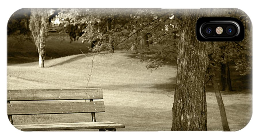 Bench IPhone X Case featuring the photograph Park Bench In A Park by Robert Hamm