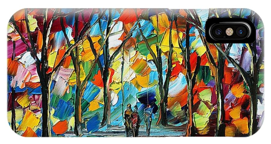 Afremov IPhone X Case featuring the painting Park Of Freedom by Leonid Afremov