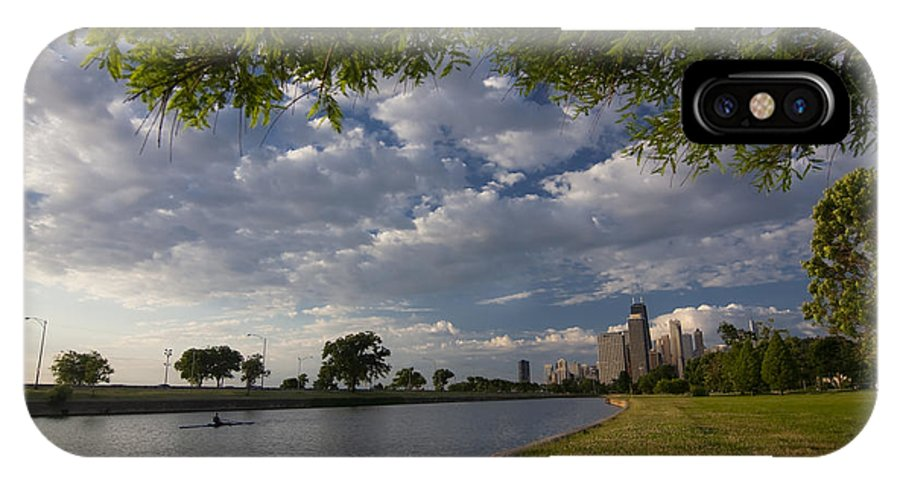 Rowing IPhone X Case featuring the photograph Park Scene With Rower And Skyline by Sven Brogren