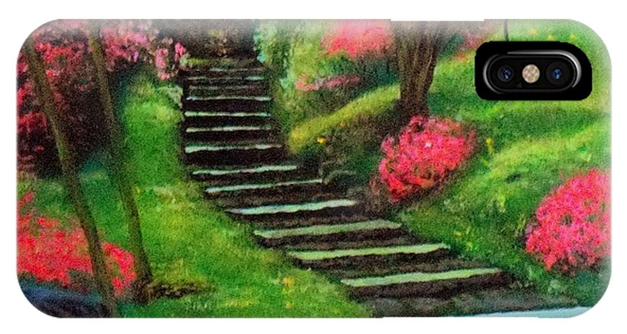 Flower Park Steps IPhone X Case featuring the painting Park Steps by William Tremble