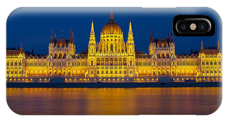 Budapest IPhone X Case featuring the photograph Parliament On The Danube by Peter Kennett