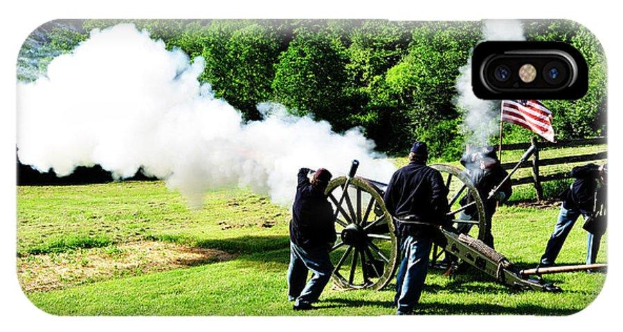 First Land Battle IPhone X Case featuring the photograph Parrot Gun Battery Firing Weapon by Thomas R Fletcher