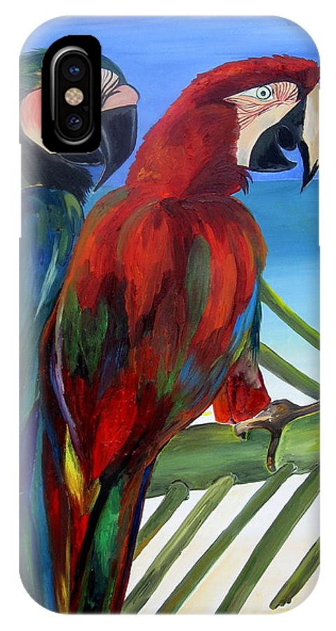 Parrots IPhone X Case featuring the painting Parrots On The Beach by Patti Schermerhorn