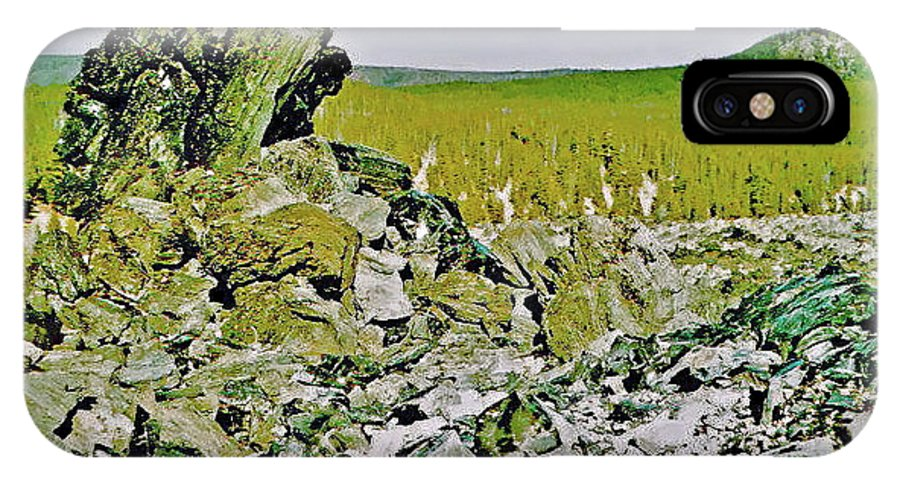 Part Of Large Obsidian Floe In Newberry National Volcanic Monument IPhone X Case featuring the photograph Part Of Large Obsidian Floe In Newberry National Volcanic Monument, Oregon by Ruth Hager