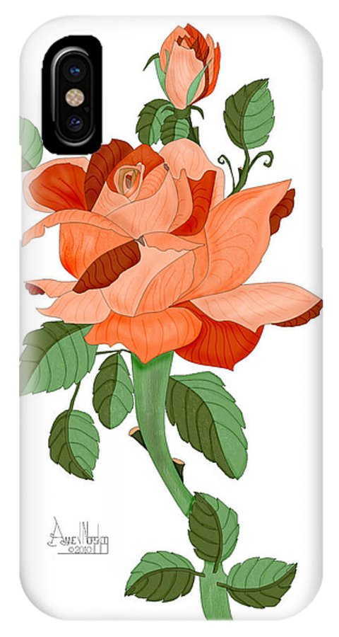 Rose IPhone X Case featuring the painting Party Colored Rose by Anne Norskog