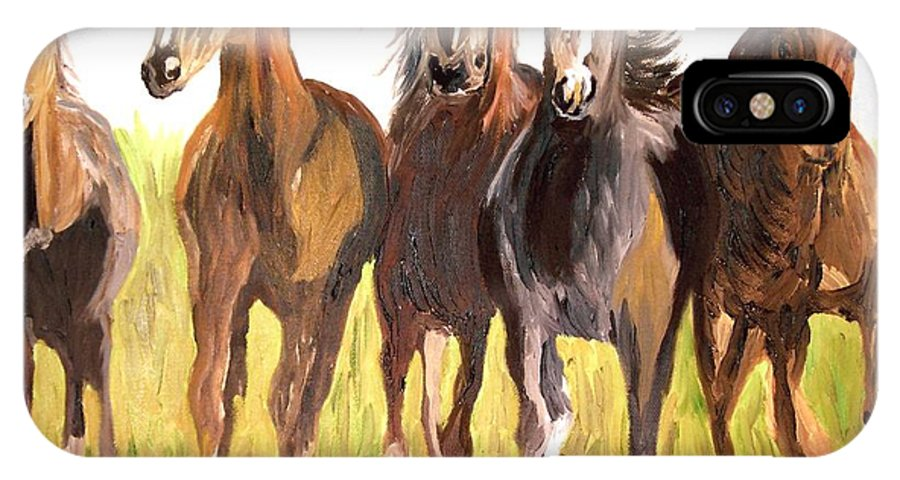 Horses IPhone X Case featuring the painting Party Of Five by Michael Lee