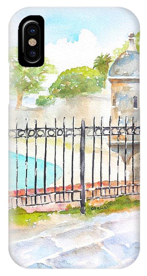 Puerto Rico IPhone X Case featuring the painting Paseo De La Princesa Puerto Rico by Carlin Blahnik CarlinArtWatercolor
