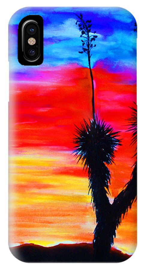 Sunset IPhone X Case featuring the painting Paso Del Norte Sunset 1 by Melinda Etzold
