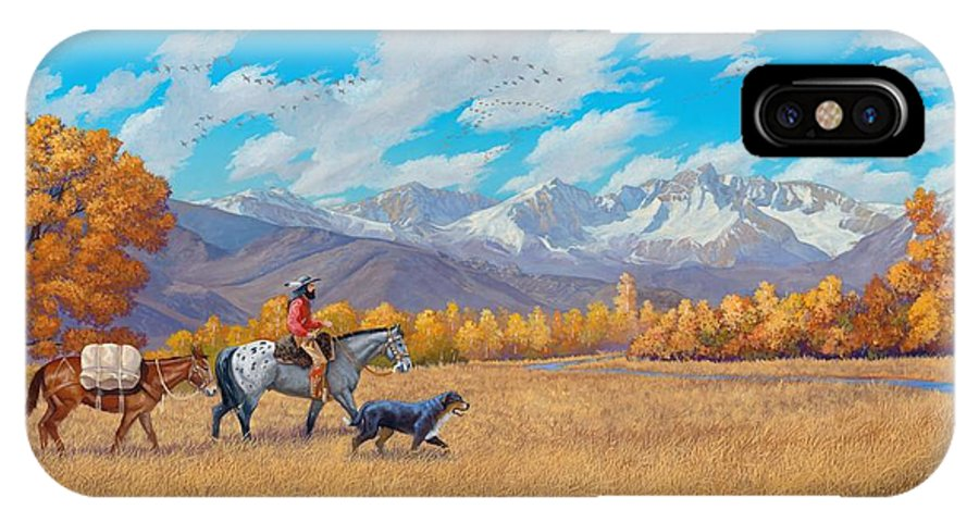 Mountain Man IPhone X Case featuring the painting Passin' Through by Howard Dubois