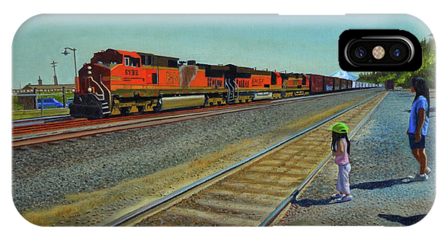 Train IPhone X Case featuring the painting Passing Train by Thu Nguyen