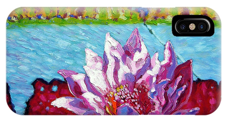 Water Lily IPhone X Case featuring the painting Passion For Light And Color by John Lautermilch