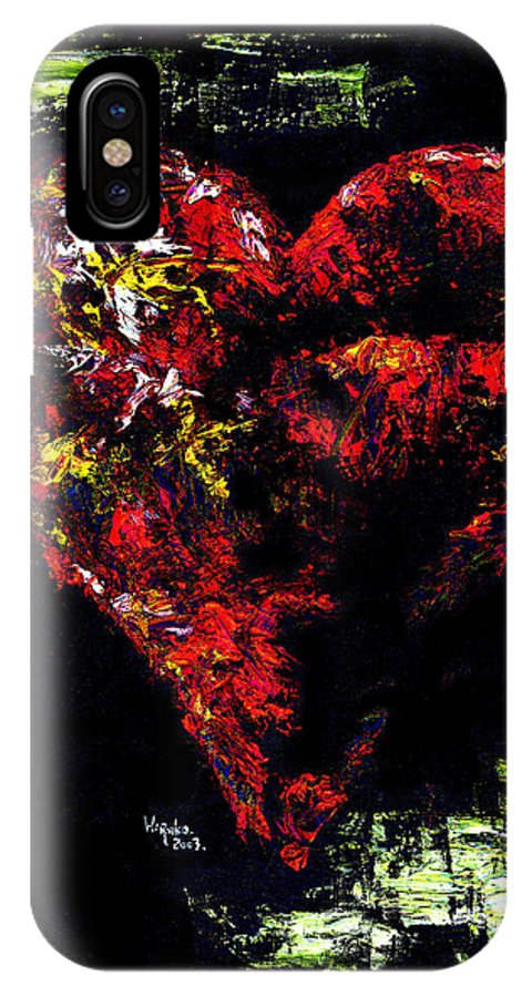 Heart IPhone X Case featuring the painting Passion by Hiroko Sakai
