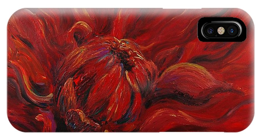 Red IPhone X Case featuring the painting Passion II by Nadine Rippelmeyer