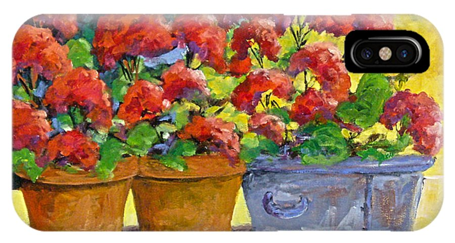 Still Life; Geraniums; Flowers; Terra Cotta; Red; Blue; Yellow; Green; Pranke; IPhone Case featuring the painting Passion In Red by Richard T Pranke