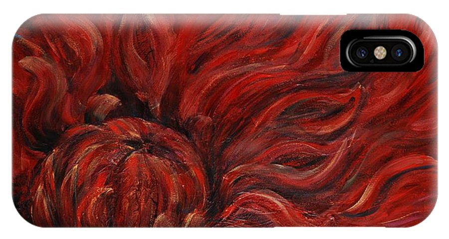 Flower IPhone X Case featuring the painting Passion Iv by Nadine Rippelmeyer