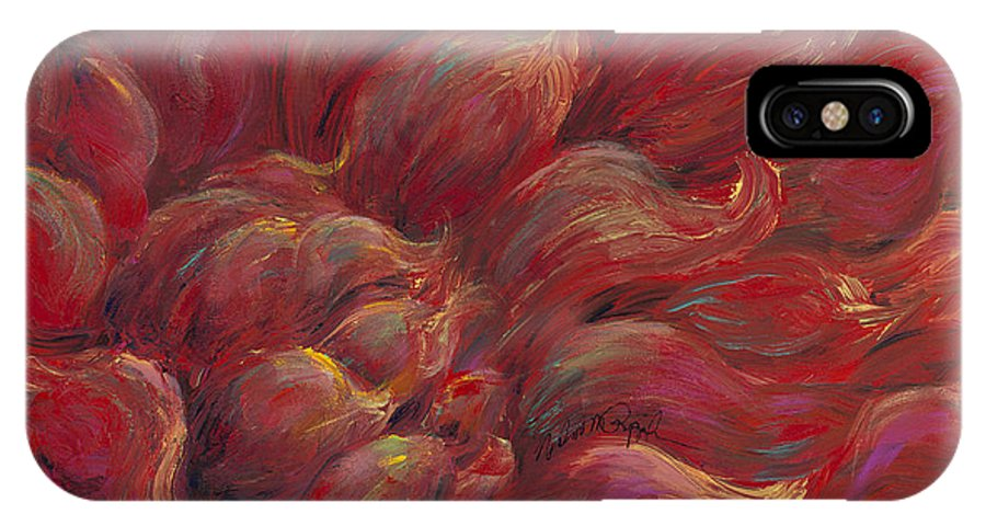 Red IPhone Case featuring the painting Passion V by Nadine Rippelmeyer