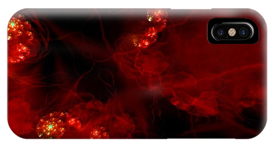 Passion Red Explosion Expression Blood Heart IPhone X / XS Case featuring the digital art Passional by Veronica Jackson