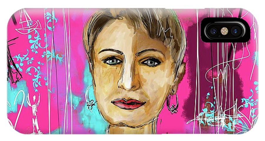 Portrait IPhone X Case featuring the digital art Passport Photo by Sladjana Lazarevic