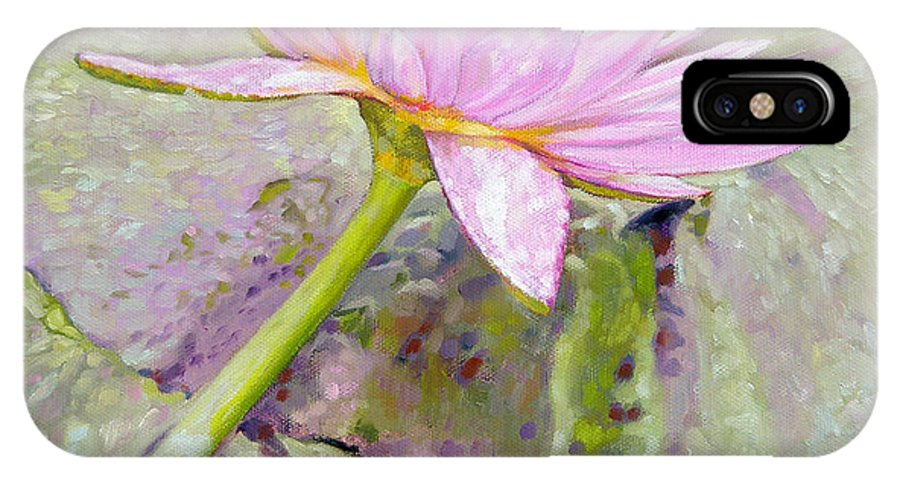 Water Lily IPhone X / XS Case featuring the painting Pastel Beauty by John Lautermilch