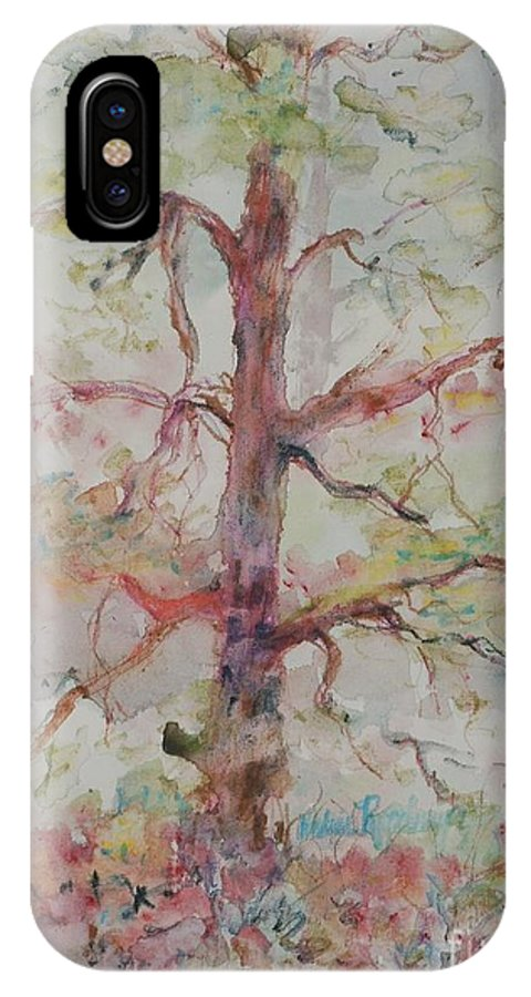 Forest IPhone X / XS Case featuring the painting Pastel Forest by Nadine Rippelmeyer