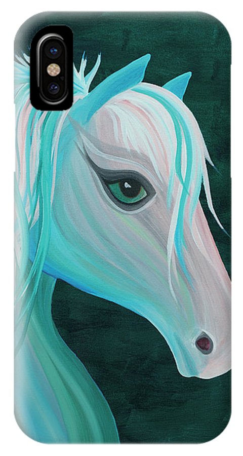 Horse IPhone X Case featuring the painting Pastel Horse by Nicole Paquette