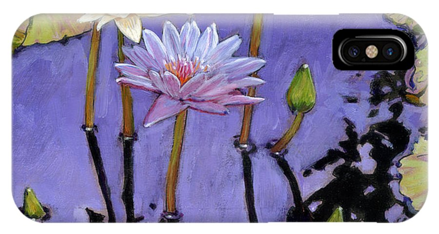 Water Lilies IPhone X Case featuring the painting Pastel Petals by John Lautermilch