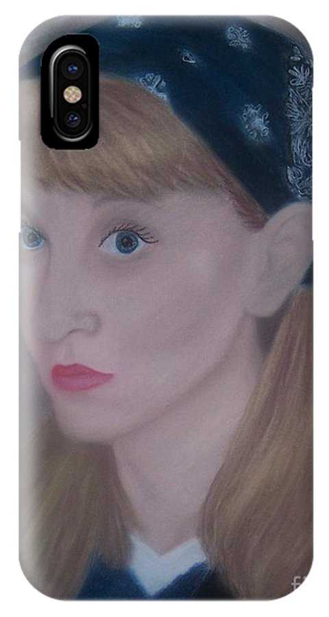 Self Portrait IPhone X Case featuring the pastel Pastel Self Portrait by Emily Young