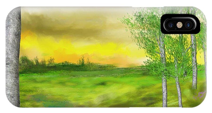 Landscape IPhone X Case featuring the digital art Pastoral by David Lane