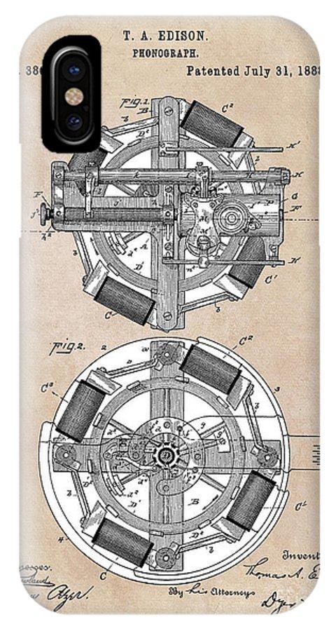 Edison IPhone X Case featuring the digital art patent art Edison 1888 Phonograph by Justyna JBJart