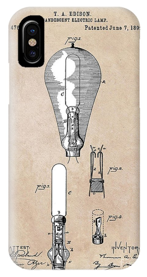 Incandescent Electric Lamp IPhone X Case featuring the digital art patent art Edison 1892 Incandescent electric lamp by Justyna JBJart