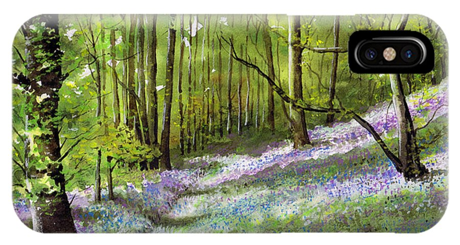 Bluebell IPhone X Case featuring the painting Path Through Bluebell Wood by Paul Dene Marlor