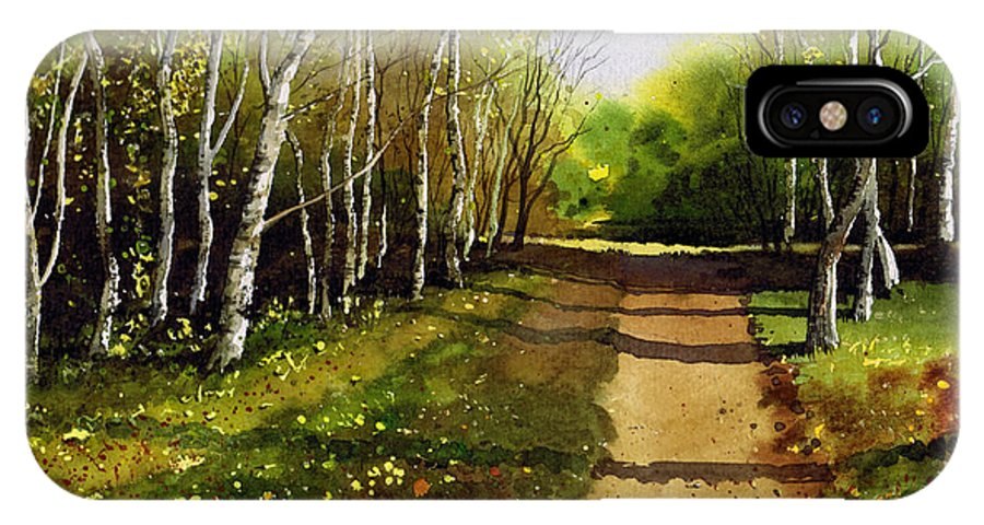 Woodland IPhone X Case featuring the painting Path Through Silver Birches by Paul Dene Marlor