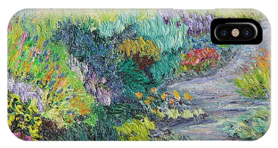 Flowers IPhone X Case featuring the painting Pathway Of Flowers by Richard Nowak