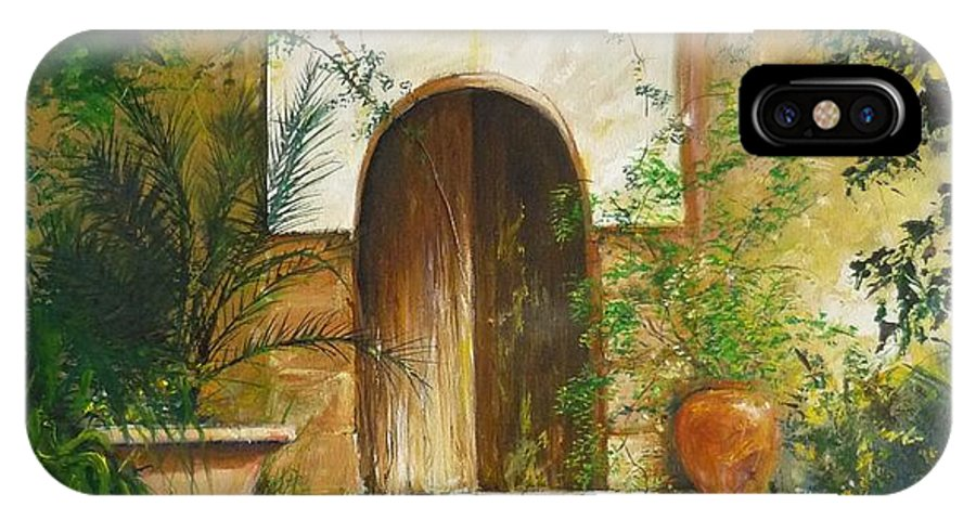 Farmhouse Courtyard IPhone X Case featuring the painting Patio Mallorquin by Lizzy Forrester