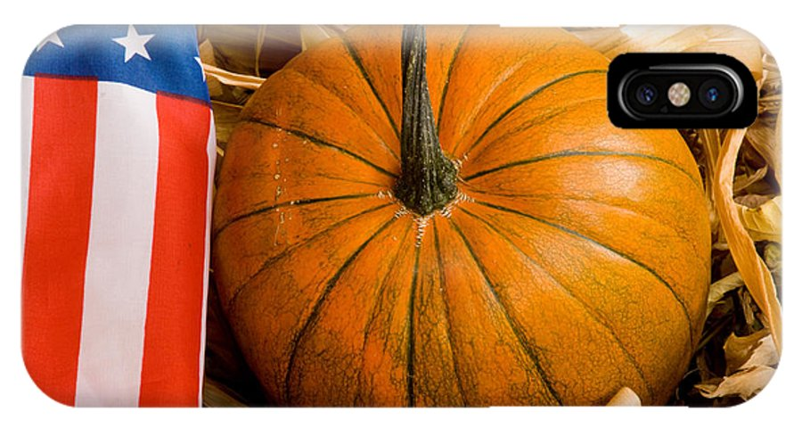 Pumpkin IPhone X Case featuring the photograph Patriotic American Pumpkin by James BO Insogna