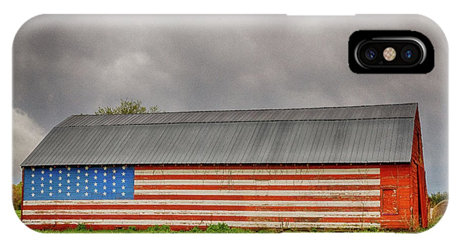 Barn IPhone X / XS Case featuring the photograph Patriotic Barn by Terri Morris