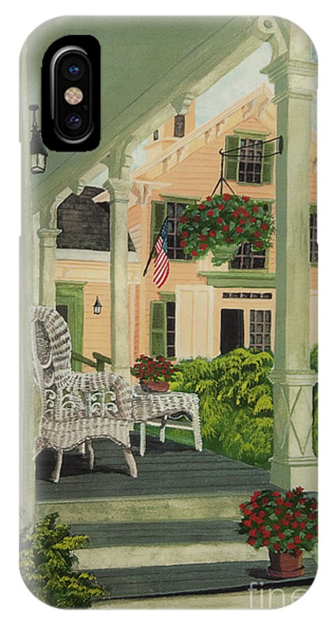 Side Porch IPhone X / XS Case featuring the painting Patriotic Country Porch by Charlotte Blanchard