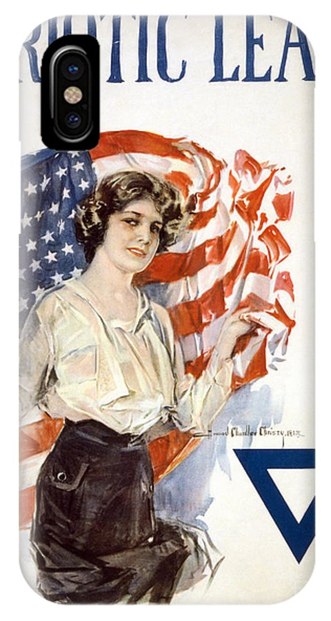 1918 IPhone X Case featuring the drawing Patriotic League, 1918 by Howard Chandler Christy